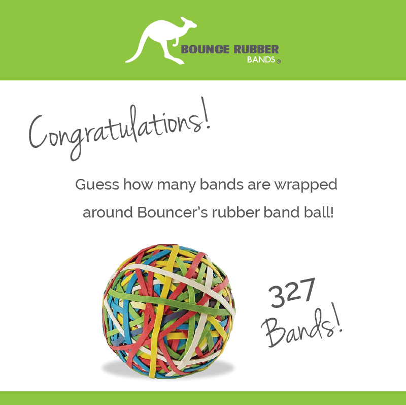 Image notifying participants of rubber band ball winners